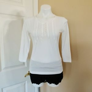 Chaps pleated front 3/4 sleeve tee sz S